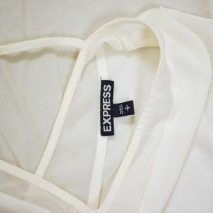 Express Tops - Express White V-neck Sheer Cap Sleeve Top M17